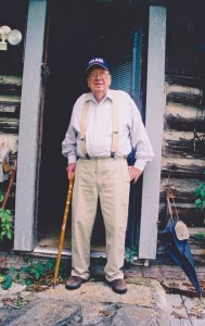 Will Campbell at his writing cabin in Mount Juliet, Tenn., where he penned books and ministered to country music stars and others who sought his counsel. 2004 Baptists Today photo by John Pierce.